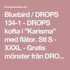 """Bluebird / DROPS 134-1 - DROPS kofta i """"Karisma"""" med flätor. Stl S - XXXL - Gratis mönster från DROPS Design"""
