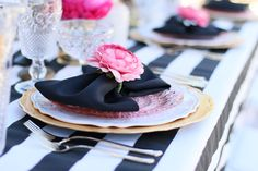 """You'll want to find a reason to celebrate with our """"Pink Please"""" Rental Collection! Everything here is prepackaged to rent! Black & White Stripes + Pink Peonies + gold accents = LOVE! @inJOYtheParty"""