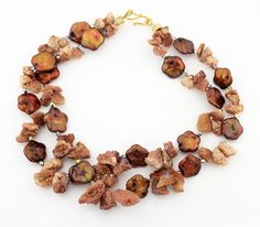 Druzy and Copper Coin Pearl Necklace  KD3057 by GemJunky1 on Etsy