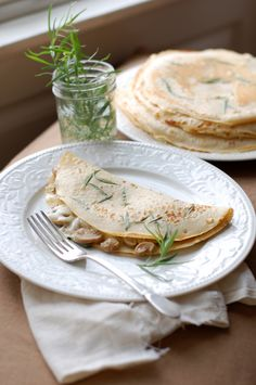 Herbed Crepes-minus the mushrooms and serve with a tuna salad, chicken salad, quinoa fruit salad.