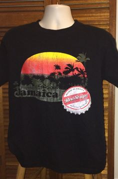 f49035a8d Adult Large 1990s Jamaican Red Stripe Beer Black T shirt Short Sleeve Red  Stripes