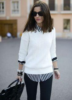 Como fazer sobreposição e criar looks de outono mais interessantes | Tallita Lisboa Blog Adrette Outfits, Cute Preppy Outfits, Office Outfits, Preppy Style, Casual Outfits, Fashion Outfits, Fashion Ideas, White Outfits, Sweater Outfits