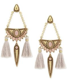 Lucky Brand Gold-Tone Reversible Stone & Tassel Chandelier Earrings, a Macy's Exclusive Style