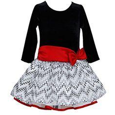 c5cbfe78d New Bonnie Jean Girls Chevron Dot Red Bow Christmas Holiday Tutu Dress