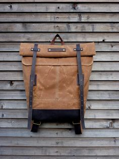 Waxed canvas rucksack/backpack with roll up top by treesizeverse, $209.00