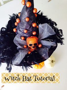 Witch hat makeover tutorial! It only cost 2 bucks to make this hat look awesome! #witchhatmakeover #witchhat