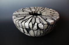 Frankie Barnes. Raku, carved lidded bowl 40cm. Based on the work of Vibeke Stubbe Teglbjærg and Andy Goldsworthy.
