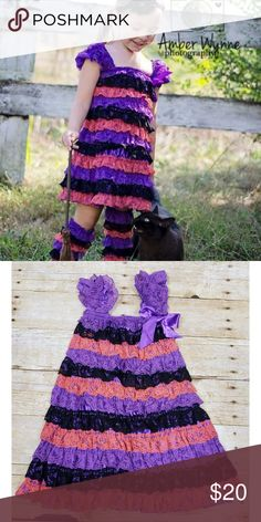 032e54a877 Lace Ruffle Petti Dress EUC, size 3-5y, lace ruffle petti dress. Worn one  time for 30 minute modeling photo shoot. Purple, black and orange lace  ruffles.