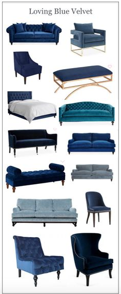 I bought one of these for my family room. I adore blue velvet - it& perfect I bought one of these for my family room. I adore blue velvet - its perfect Living Room Sofa, Living Room Furniture, Home Furniture, Living Room Decor, Furniture Design, Furniture Board, Sofa Design, Interior Design, Blue Rooms