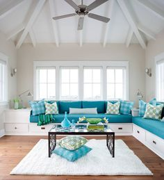 New living room sectional sofa ideas wall colors Ideas House Of Turquoise, Turquoise Sofa, Living Room Turquoise, Turquoise Cottage, Teal Sofa, Turquoise Accents, Living Room Built Ins, New Living Room, Living Room Sofa