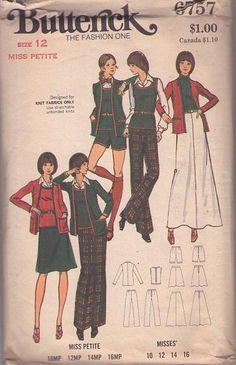 MOMSPatterns Vintage Sewing Patterns - Butterick 6757 Vintage 60's Sewing Pattern SASSY Mod Knits Hot Pants Suit, Shorts, Sweater Vest Top, Skirt, Pants & Cardigan Jacket Size 12