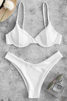 Ribbed Underwire High Leg Bikini Swimsuit – White L Swimwear Uk, Swimwear Fashion, Underwire Swimwear, Trunks Swimwear, Bandeau Swimsuit, White Swimsuit, Cute Swimsuits, Cute Bikinis, Justice Swimsuits