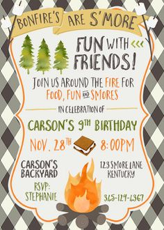Boy Camping Smores Birthday Invite Bonfire by CherryBerryDesign                                                                                                                                                     More