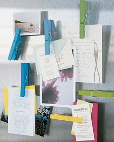 Recycled clothespins can be used to organize and hang papers, photos, and cards when they're turned into refrigerator magnets.