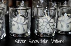 DIY Silver Snowflake Votives using Silhouette Cameo and Silver Vinyl Silhouette Cutter, Silhouette Vinyl, Silhouette Portrait, Silhouette Machine, Silhouette Design, Silhouette Cameo Christmas, Silhouette Cameo Projects, Vinyl Crafts, Vinyl Projects