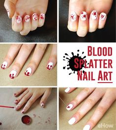 For Halloween, go with a classic blood-splattered red! Learn all the different techniques here: Toe Nail Designs, Nail Polish Designs, Acrylic Nail Designs, Nails Design, Acrylic Nails, Diy Nails, Cute Nails, Pretty Nails, Crazy Nail Art