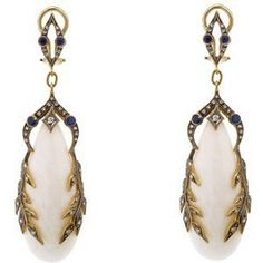 Cathy Waterman White Coral Garland Earrings with Blue Sapphires