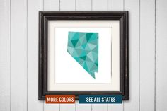 Nevada State Map Print - Personalized Geometric Wall Art NV Colorful Abstract Poster, Minimal, Unique and Customized Triangle Decor