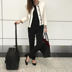 Where else would I be on Monday at 6.30 am... #flyingtime @chloe lauren pumps @mansurgavriel tote @massimodutti suit pants @zara tweed blazer (bow removed) @porschedesignofficial suitcase @tagheuer formula 1 watch #pearlbracelet bought on a market in Philippines by yasmin_dxb