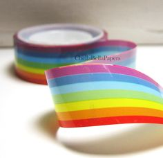 Colorful Rainbow Striped Deco Tape. $1.75, via Etsy.