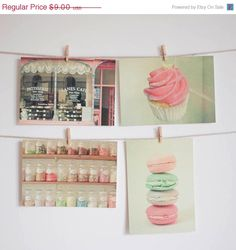 SALE Food postcard set  Pastel candy colours kitchen by LolasRoom