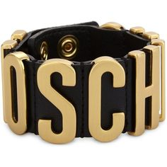 99299a5da8f MOSCHINO Logo leather wrap bracelet (890 RON) ❤ liked on Polyvore featuring  jewelry