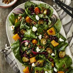 This hearty salad is brimming with the flavors of fall with ingredients such as pumpkin seeds, brussels sprouts, cranberries, and dark,...