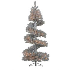 """Vickerman 34008 - 7' x 35"""" Silver White Pine Spiral 300 Clear DuraLit Miniature Lights Christmas Tree (N135871) ** To view further, visit…"""