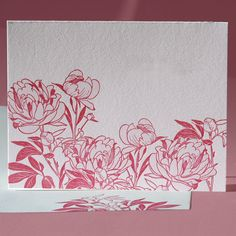 """Hardy peonies unfold their layers of scented petals for lucky passers-by—tiny critters not excluded! Challenge your recipient to spot and name the camouflaged critters in this card in five seconds or less for a treat on you!  This card is also available with a """"Happy Birthday"""" greeting and with a """"Happy Valentine's Day"""" greeting."""