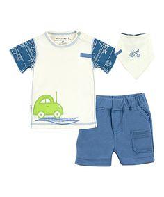 Kushies Blue & White Car Organic Tee Set - Infant   zulily