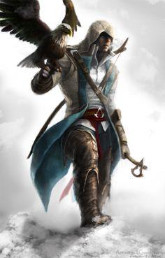 Connor Kenway with an ax Assassins Creed III wallpaper Game Arte Assassins Creed, Connor Kenway, All Assassin's Creed, Arte Hip Hop, Templer, Fan Art, Video Game Characters, Fantasy Characters, Fantasy Art