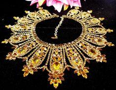 DIMARTINO ORIGINALS SIGNED MASSIVE GOLDEN TOPAZ RHINESTONE BIB NECKLACE 206g WOW | Jewelry & Watches, Vintage & Antique Jewelry, Costume | eBay!