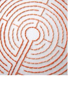 "Labyrinth Embroidery Patterns from Sublime Stitching. Get lost in a labyrinth of stitches! Hang on your wall, and then you have a ""finger labyrinth"" you can take down and trace whenever you feel Silk Ribbon Embroidery, Cross Stitch Embroidery, Hand Embroidery, Modern Embroidery, Machine Embroidery Designs, Embroidery Patterns, Stitch Patterns, Art Du Fil, Textiles"