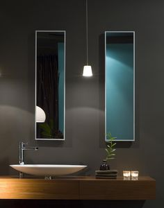 Lantern House Guest bathroom: Dark gray walls, wood countertop, modern fixtures..  Modern Design Inspiration: Dark Gray Bathrooms