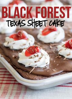 This Black Forest Texas Sheet Cake recipe is seriously so good! I am usually pretty reserved when it comes to cake, but I had to go back for seconds on this one! This one is a keeper!