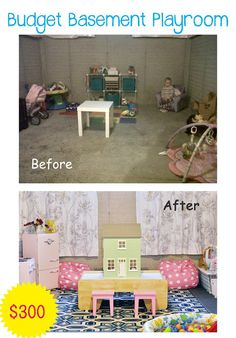 Budget Basement Playroom Makeover they are renting their house, and she goes on about how to make it safe and comfortable for her kids while keeping her landlord happy :)
