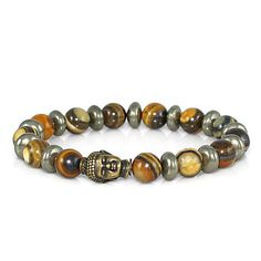 Great looking new men's Buddha bracelet.  Love the Jupiter Jasper.  It looks a bit like wood grain.  Great gift for your special person. #etsymnttig #etsymnttgrhim #etsymnttgfd #buddhabracelet #handmade