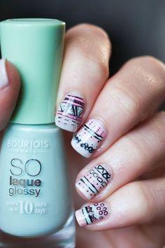 pastel aztec nail art