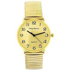 Philip Mercier Gents Gold Tone Expander Bracelet Strap Dress Watch MC45B Gold Watch, Quartz, Watches, Bracelets, Dress, Accessories, Dresses, Wristwatches, Clocks