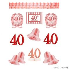 40th Anniversary Celebration Decorating Kit « Ruby Wedding Gifts Ruby Wedding Gifts Ruby Wedding Anniversary, Anniversary Parties, Anniversary Ideas, Honeycomb Paper, Happy 40th, 40th Birthday Gifts, Wedding Gifts, Kit, Decorating