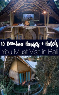A list of all the amazing Bali Bamboo houses + hotels you must visit when in Bali! From one-off incredible bamboo houses to hotels constructed from bamboo to other eco getaways in the jungle, you can't miss these Bali accommodation options! #bali Travel Guides, Travel Tips, Travel Destinations, Time Travel, Bali Travel, India Travel, Best Places To Travel, Cool Places To Visit, Bali Accommodation