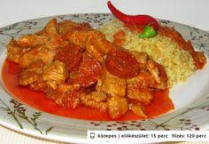Hortobágyi aprópecsenye Beef Recipes, Sausage, Curry, Pork, Meat, Chicken, Ethnic Recipes, Kale Stir Fry, Beef