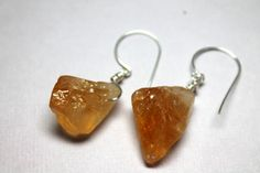 Citrine Raw Gemstone Earrings Yellow Quartz by CaveGemstones, $22.00