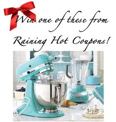 *HOT* Enter to Win a KitchenAid Mixer from Raining Hot Coupons (you choose color)! I soooooo want one of these! I just pointed it out to the men in my house, last night, as a HUGE hint!  ;)