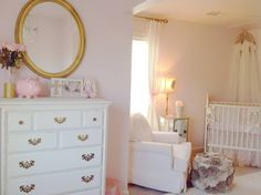 Glam Pink, Cream & Gold Nursery - this room is so thoughtfully curated! #nursery #pinkandgold