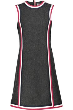 THOM BROWNE Cricket Silk Faille-Trimmed Wool Dress. #thombrowne #cloth #dress