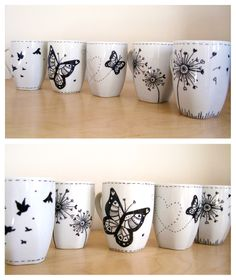 Helen Naylor Illustration: Hand painted mugs.