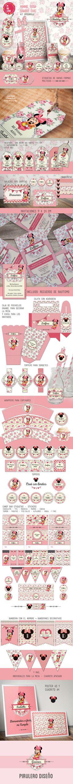 Kit imprimible de Pirulero Minnie Bebé rosa Shabby Chic #Printable #kitimprimible #minnieBebe #minnie #ShabbyChic