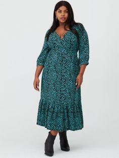 V By Very Curve Dalmatian Print Midaxi Dress - Teal, Teal Print, Size Women - Teal Print - 28 Teddy Bear Coat, Curve Dresses, High Leg Boots, Long Toes, Dalmatian, Dress Outfits, Curves, Wrap Dress, Teal