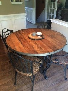 Round Reclaimed Wood Tabletop